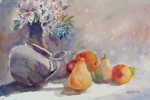 Bouquet and Pears