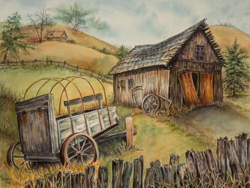 Old Barn and Wagon